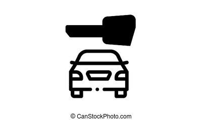 voiture, animation, vol, icône