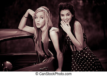 voiture, années soixante, filles, ou, 60s