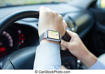 voiture, app, montre, main, navigation, homme