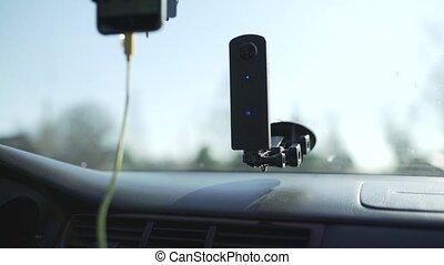 voiture, appareil photo, en mouvement, route, téléphone