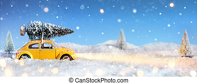 voiture, arbre, noël, porter
