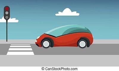 voiture, arrêts, animation, trafic, futuriste, lumière, devant, hd