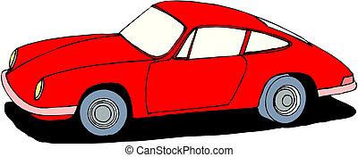 voiture, arrière-plan rouge, isolé