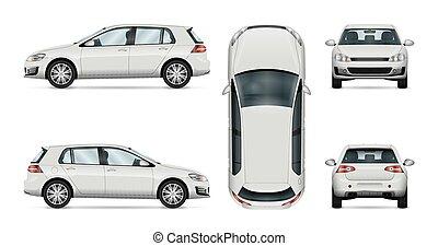 voiture, arrière-plan., vecteur, gabarit, blanc, hayon