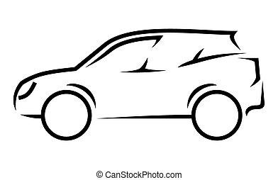 voiture, art, ligne