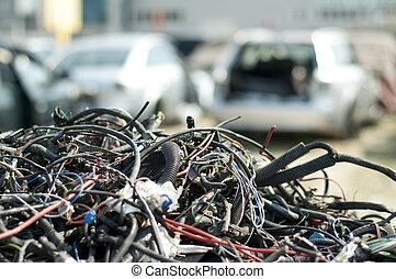 voiture, automorgue, parties, câbles, vieux