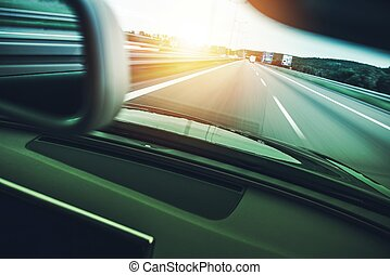 voiture, autoroute, expédier