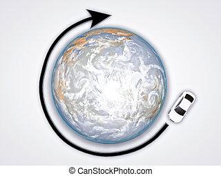 voiture, autour de, mondiale