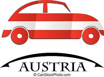 voiture, autriche, fait, drapeau, icône