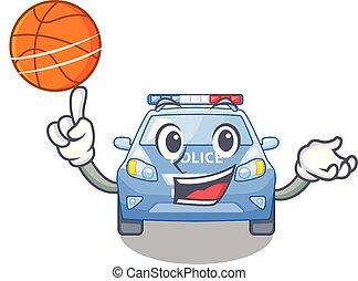 voiture, basket-ball, police, dessin animé, bord route