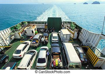 voiture, bateau, ferry-boat
