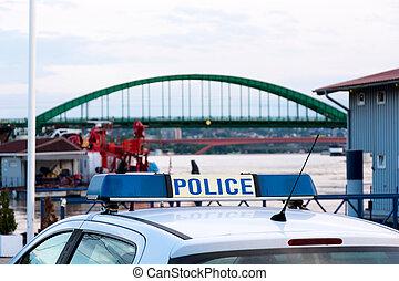 voiture, bateaux, dock, police