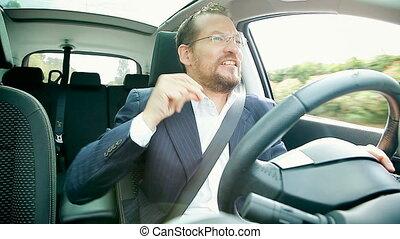 voiture, beau, business, conduite, homme