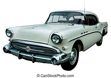 voiture, blanc, classique, retro, isolé