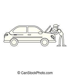 voiture, blanc, concept, noir, mécanicien