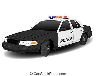 voiture, blanc, escouade, police, noir