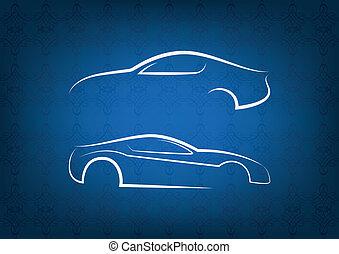 voiture, blanc, logos
