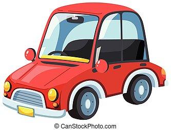 voiture, blanc, moderne, arrière-plan rouge