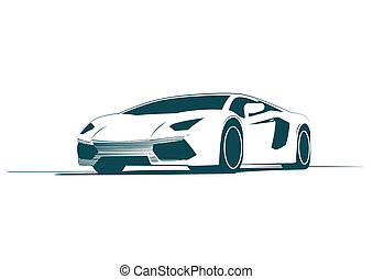 voiture, blanc, sport, courses