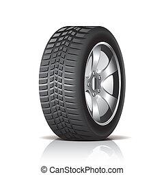 voiture, blanc, vecteur, isolé, pneu