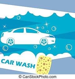 voiture, bleu, laver, sombre, aiguilles, blanc