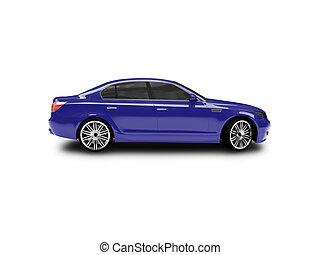 voiture bleue, côté, isolé, vue