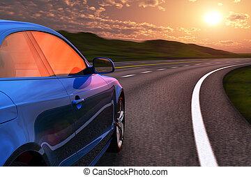 voiture bleue, conduite, autobahn, dans, coucher soleil, à, ternissure mouvement