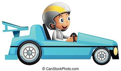 voiture bleue, coureur, courses