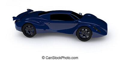 voiture bleue, course, isolé