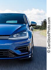 voiture bleue, détail, barbouillage, vitesse, route