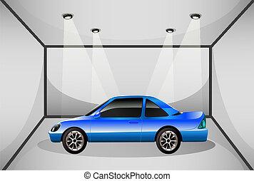 voiture bleue, intérieur, teinté, garage