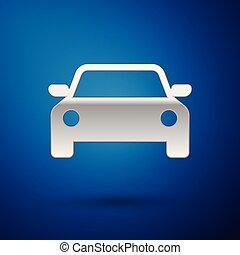 voiture bleue, isolé, illustration, arrière-plan., vecteur, argent, icône