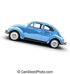 voiture bleue, latéral, vendange, européen, vue