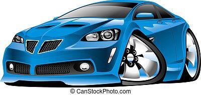 voiture bleue, moderne, dessin animé, muscle