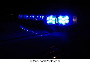 voiture bleue, nuit, police, lumières