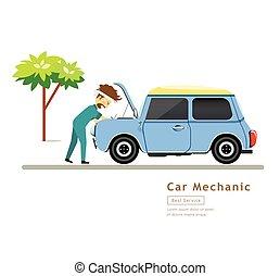 voiture bleue, ouvriers, mécanicien, service