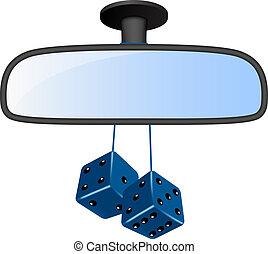voiture bleue, paire, dés, miroir