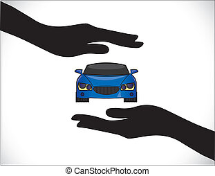 voiture bleue, protection, hand`, assurance