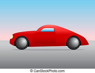 voiture bleue, rod chaud