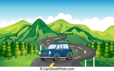 voiture bleue, route, enroulement