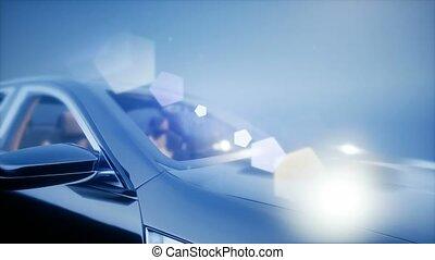 voiture bleue, sport, studio, luxe