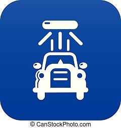 voiture bleue, vecteur, laver, icône