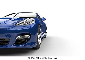voiture bleue, vue frontale
