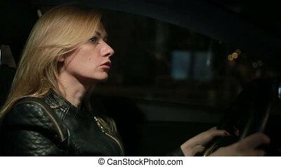 voiture, blondie, femme, jeune, conduite