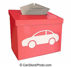 voiture boîte, idées, illustration, choix, suggestion, véhicule, automobile, 3d