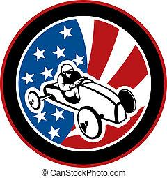 voiture boîte, raies, arrière-plan., américain, étoiles, derby, savon