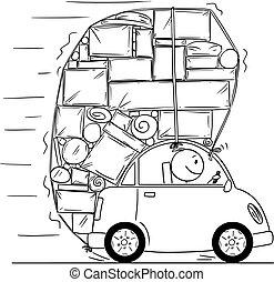 voiture, boîtes, dessin, objets, surchargé, autre, dessin ...