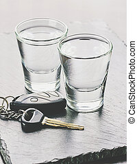 voiture, boisson, alcoolique, clés