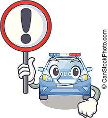 voiture, bord route, police, dessin animé, signe