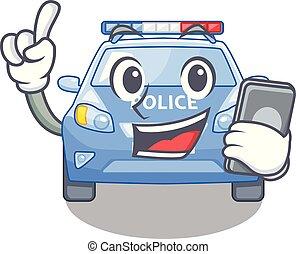 voiture, bord route, police, dessin animé, téléphone